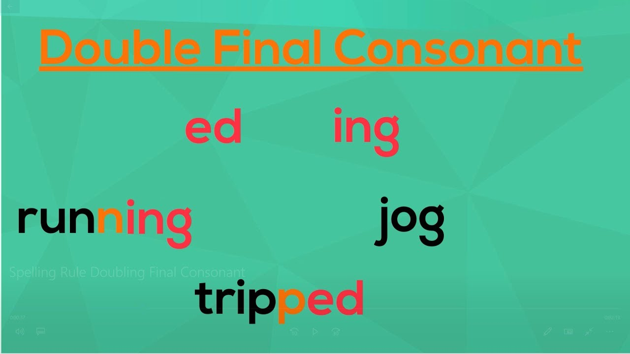 Doubling the Final Consonant   Spelling Rules   EasyTeaching - YouTube [ 720 x 1280 Pixel ]