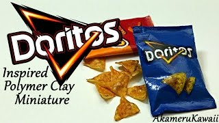 Miniature Doritos inspired Chips & Bag - Polymer Clay Tutorial