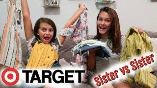 $100 TARGET Shopping Challenge BlindFolded SISTER VS SISTER! | Emma and Ellie