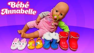 Les chaussures du poupon baby Annabelle. Vidéos en français pour enfants