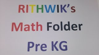 Math Folder for PreKG - Part 2