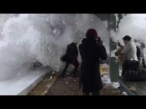 Thumbnail: Amazing Slow Motion Train Collision With Snow (Storm Stella)