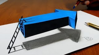 Try to do 3D Trick Art on Paper, Floating arrow with stairs