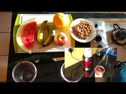 Fresh Cyprus fruit and nut smoothie in 3 minutes