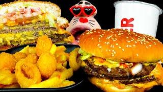 ASMR MUKBANG :) Burger King Stacker 4 Whopper Burger Set Eating Show!