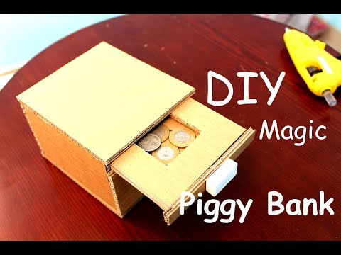 How to Make a Magic Drawer Piggy Bank With Cardboard - DIY Kids Piggy Bank