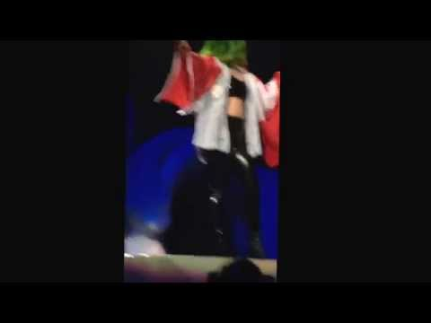 Lady Gaga talking with the Canadian flag in Calgary