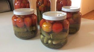 Маринованные огурцы с помидорами «Ассорти»