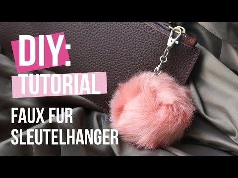 Sieraden maken: Faux fur pompom sleutelhanger ♡ DIY