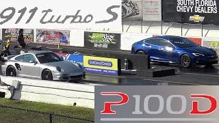 TESLA P100D vs Modded Porsche 997.2 911 Turbo S - Which is Quicker/Faster ??  - StreetCarDrags.com