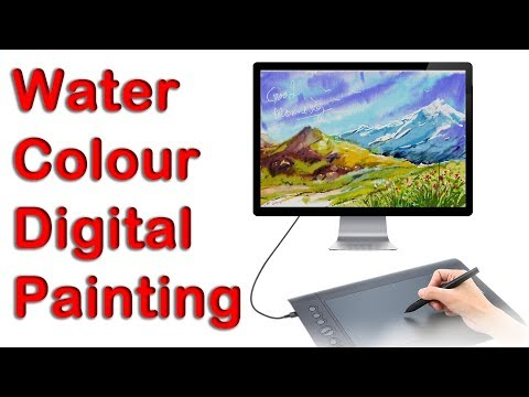 Water colour painting in computer | Digital painting | Landscape painting| Expresii