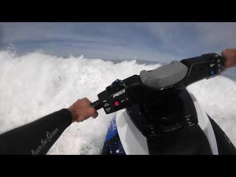 POV jetski driver on the inside of Nazare during a big waves session // GOPRO