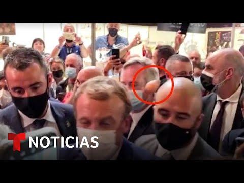 El presidente de Francia vuelve a ser agredido en público | Noticias Telemundo