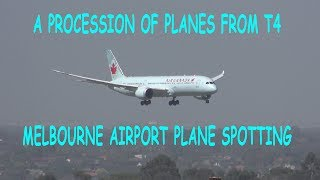 4K Procession of Planes - Melbourne Airport T4 Plane Spotting