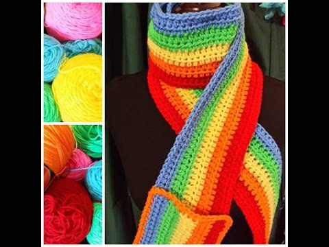 Make A Rainbow Scarf With Pocket Extra Long And Colorful