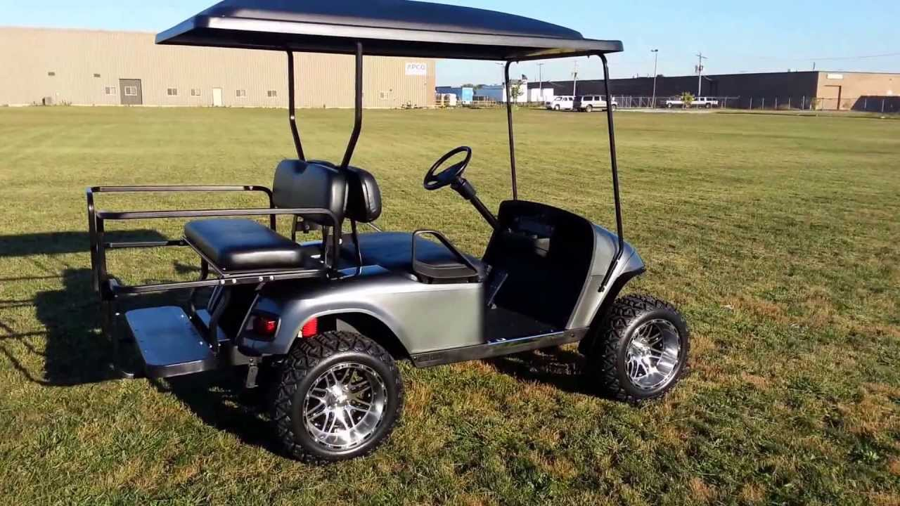 Lifted Charcoal Gray Metallic Ezgo Pds Golf Cart With Turn