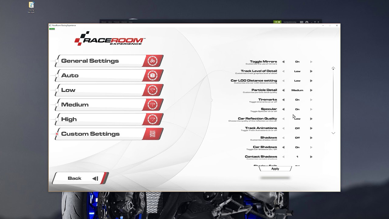 RaceRoom VR Settings with Samsung Odyssey