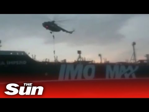 Iranian special forces rappel onto the British oil tanker Stena Impero