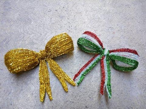 Como hacer un moño patrio o moño navideño con limpiapipas