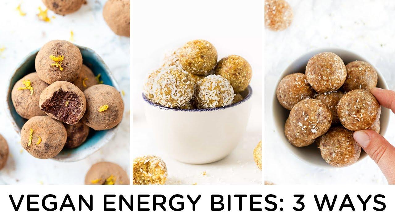 3 *NEW* Vegan Energy Bites ‣‣ EASY SNACK RECIPES