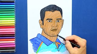 How to draw and color MS Dhoni