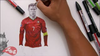 How to draw Cristiano Ronaldo ⚽️ Portugal EUROS 2016