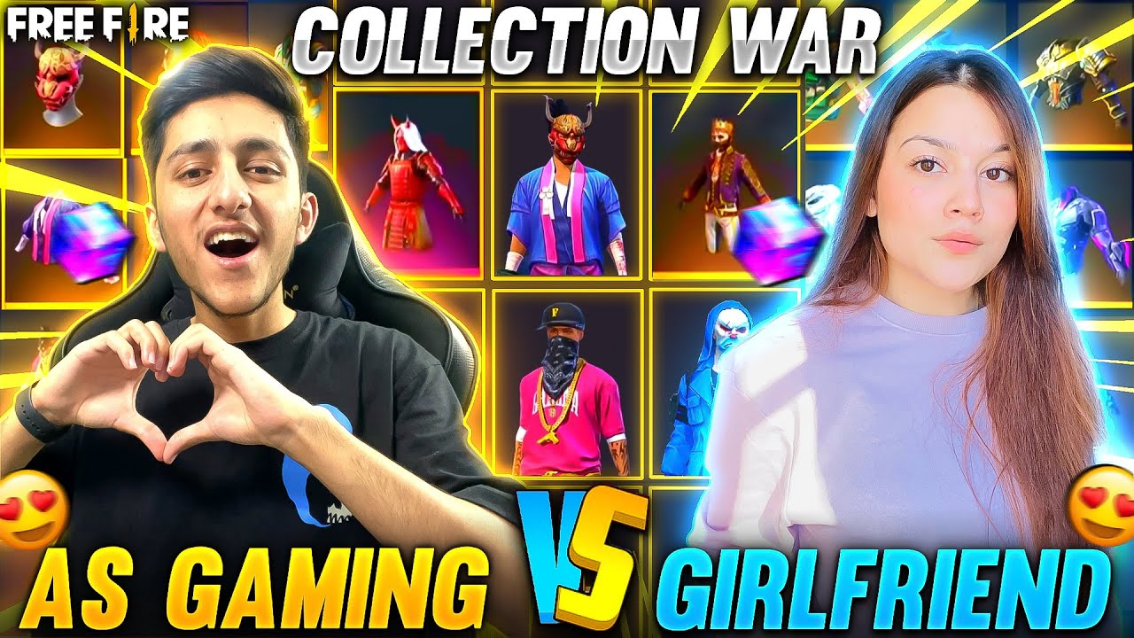 A_s Gaming Vs Girlfriend 😍 Best Collection Battle | Who Will Win ? - Garena Free Fire