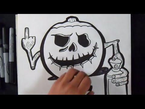 Come disegnare zucca di halloween graffiti youtube - Come disegnare immagini di halloween ...