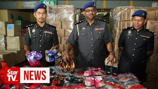 77,000 pairs of fake sandals worth RM613k seized