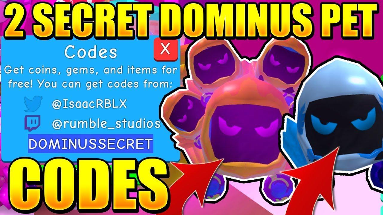 2 SECRET DOMINUS PET CODES IN BUBBLE GUM SIMULATOR! Roblox