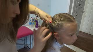 Легкая прическа на 1 сентября для девочки - коса в форме сердца
