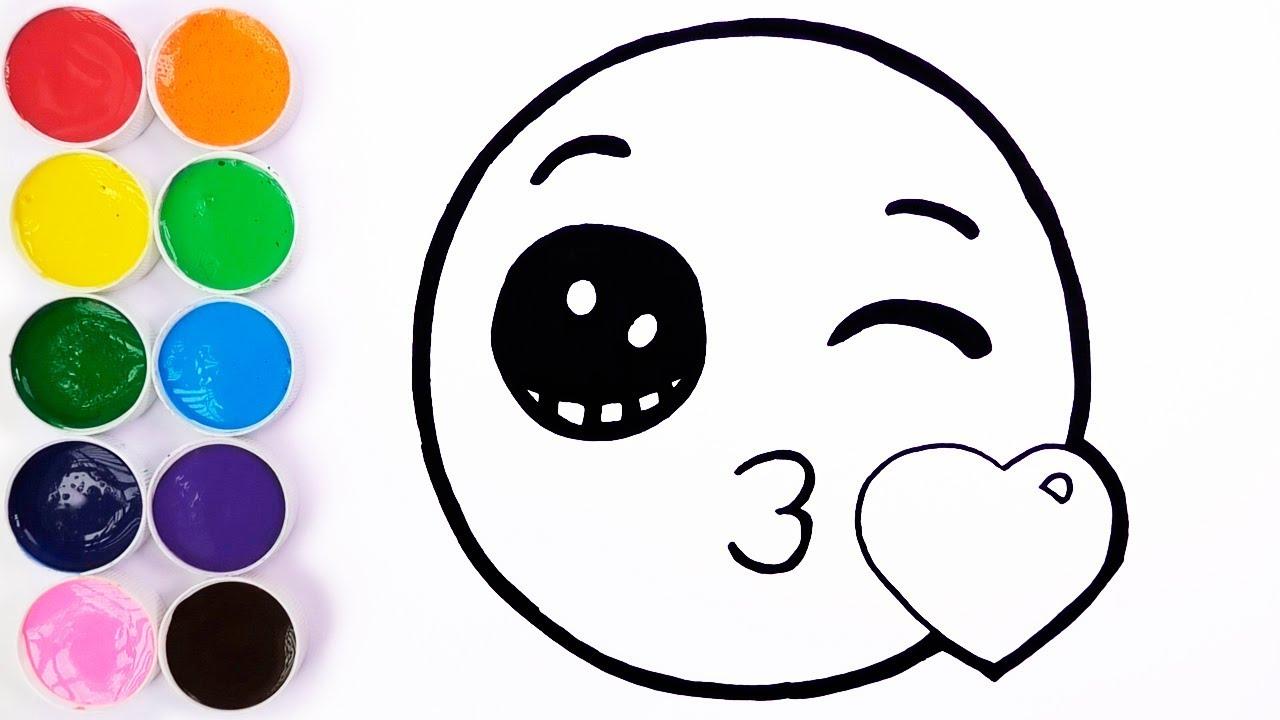 Dibujar Y Colorear Emoji De Cara Que Envía Un Beso Dibujos Para Niños Learn Colors Funkeep