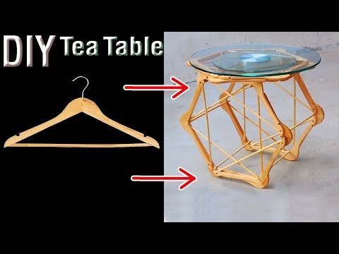 diy tea table by wooden hanger. wooden cloth hanger lifehack.
