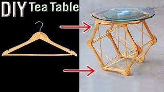 diy tea table by wooden hanger…