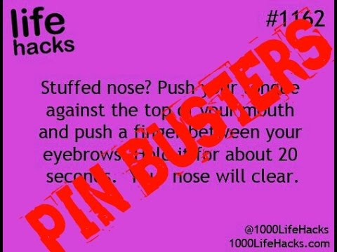 pin busters stuffy nose life hack youtube