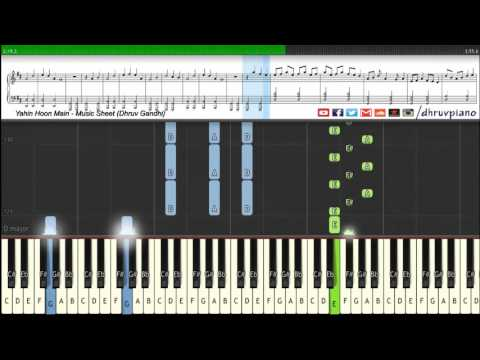 ♫ Yahin Hoon Main (Ayushmann Khurrana)    Piano Tutorial + Music Sheet + MIDI with Lyrics
