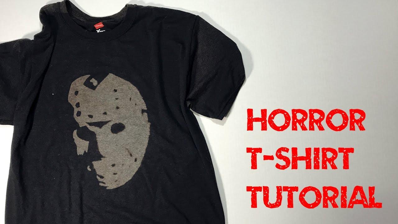 Diy bleach horror t shirt tutorial youtube for How to bleach at shirt