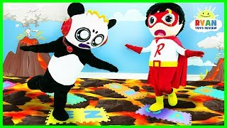 Lava Monster!!! The Floor is Lava Challenge Giant Board Game with Ryan and Combo Panda!!!