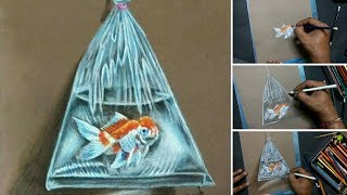 Amazing Realistic Drawing of Fish in Plastic Bag | 3D Art 4 You | Pencil colour drawing tutorial