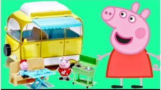 Nick Jr. PEPPA PIG Camper Van Car / Daddy, Mummy, George, SHOPKINS Happy Places Toy Surprises / TUYC