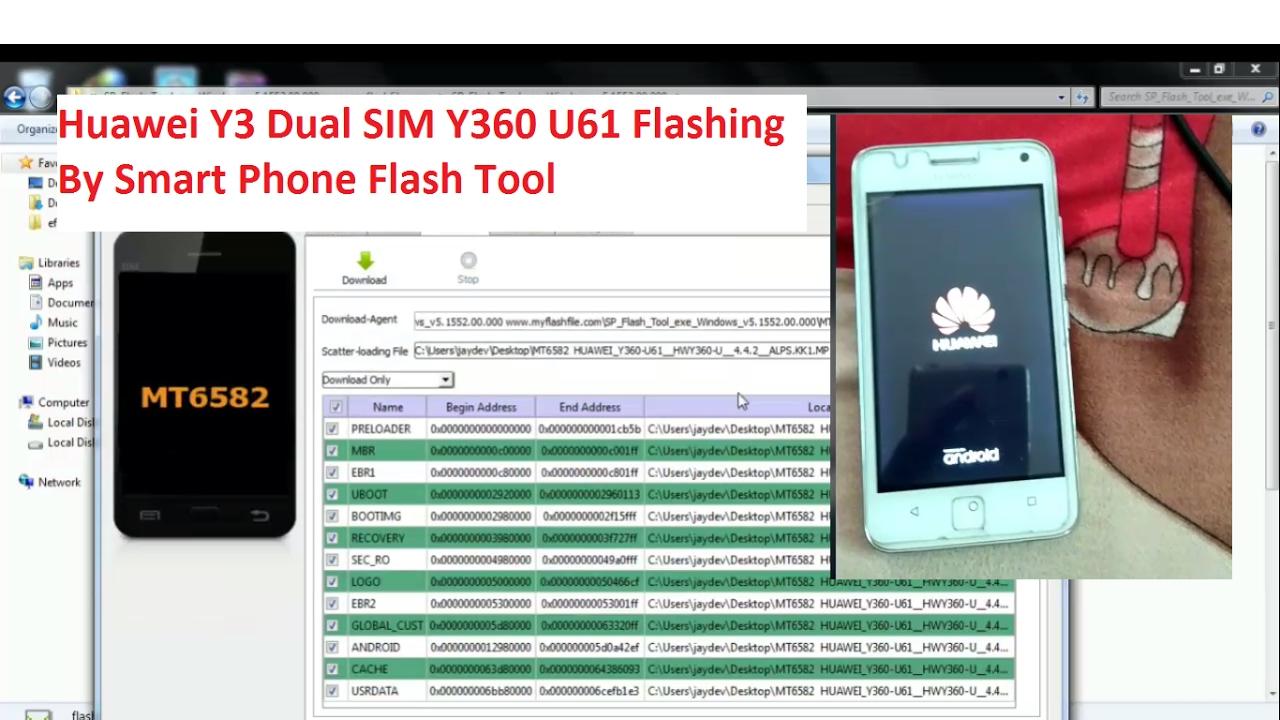 Huawei Y3 Dual SIM Y360 U61 Flashing By Flash Tool