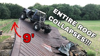 I drove my Lifted F350 OVER A BARN ROOF!!!