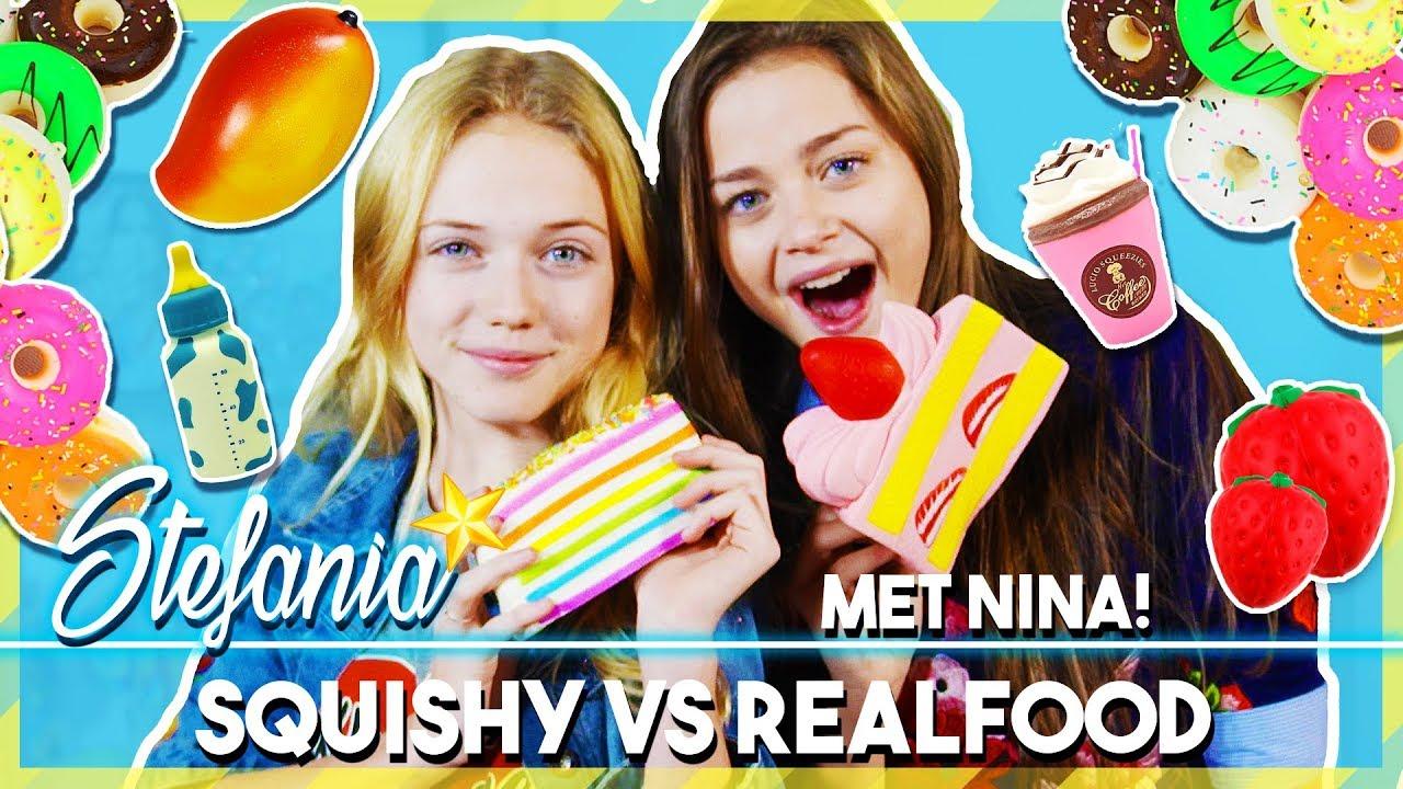 Squishy Versus Real Challenge : SQUISHY VS REAL FOOD CHALLENGE MET NINA SCHOTPOORT EN STEFANIA - YouTube