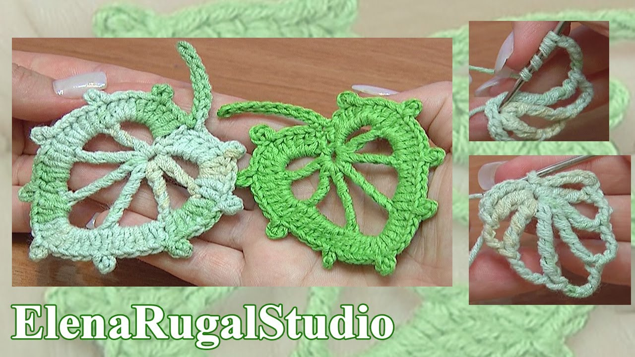How To Crochet Leaf In Round Tutorial 6 - YouTube