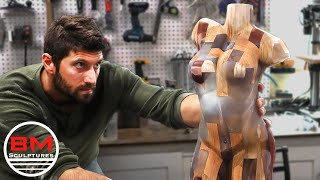 Carving a HUGE Epoxy & Wood Block Into a Human Figure / Chainsaw Carving Art / Woodworking art