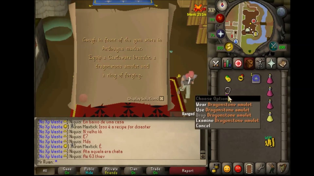 OSRS Clue Scroll - Laugh in front of the gem store in Argougne market  -  2007 Scape