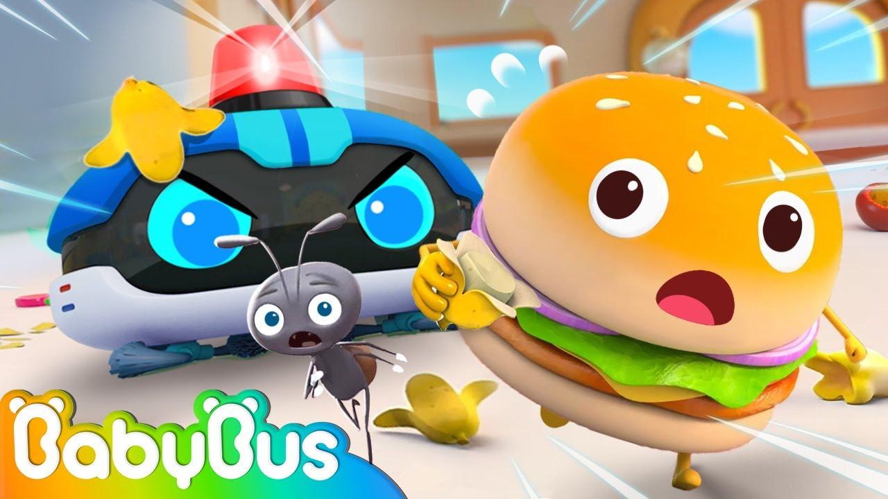 Police Robot Cleaner and Hamburger | Yummy Foods Animation | Healthy Habits | Kids Cartoon | BabyBus