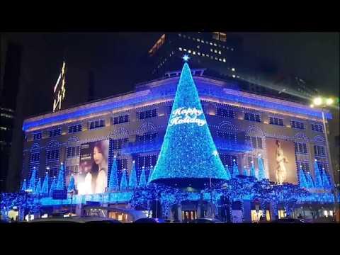 Christmas tree lighting in Shinsegae Myeongdong