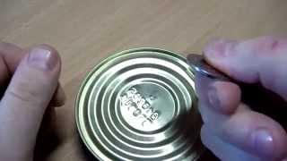 Как открыть консерву монетой Легкий способ выиграть спор у друзей DIY