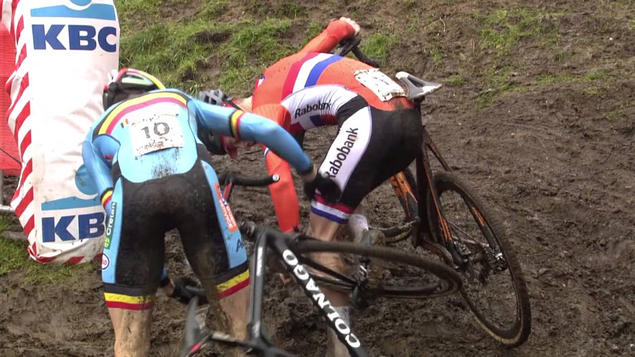 mathieu van der poel and wout van aert incident at 2016 uci cyclo cross world championships
